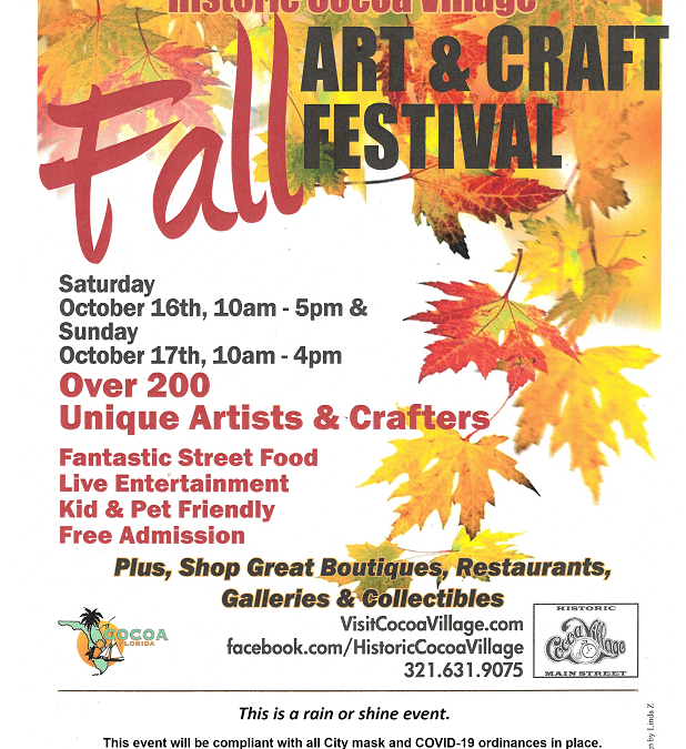 Come visit us at the Cocoa Village Fall Craft Fair 2021