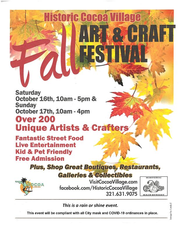 2021 Cocoa Village Fall Art Craft Flyer